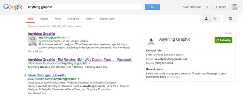 Google+ For Business: Publisher Screenshot
