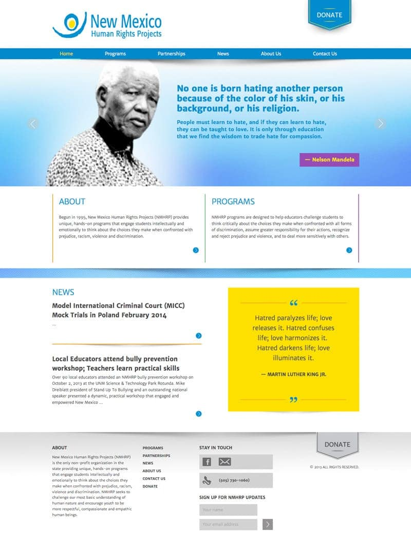 Custom Website Development - New Mexico Human Rights Projects - Home Page