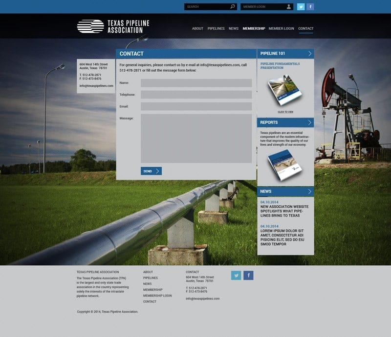 Responsive WordPress Website Development: Texas Pipeline Association - Contact
