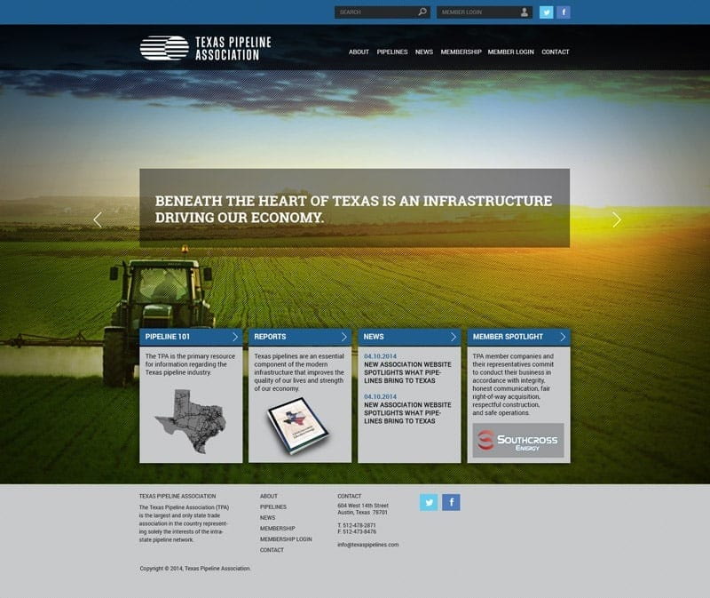 Responsive Wrdpress Website Development: Texas Pipeline Association - Homepage