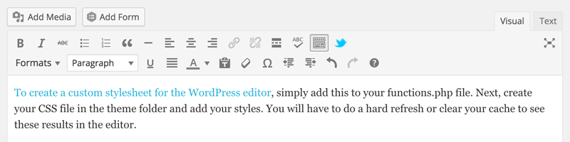 Custom Stylesheet for the WordPress Editor