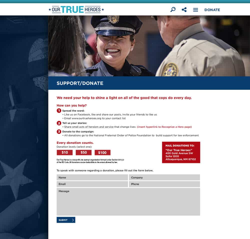 Website Development: Our True Heroes Donate Page