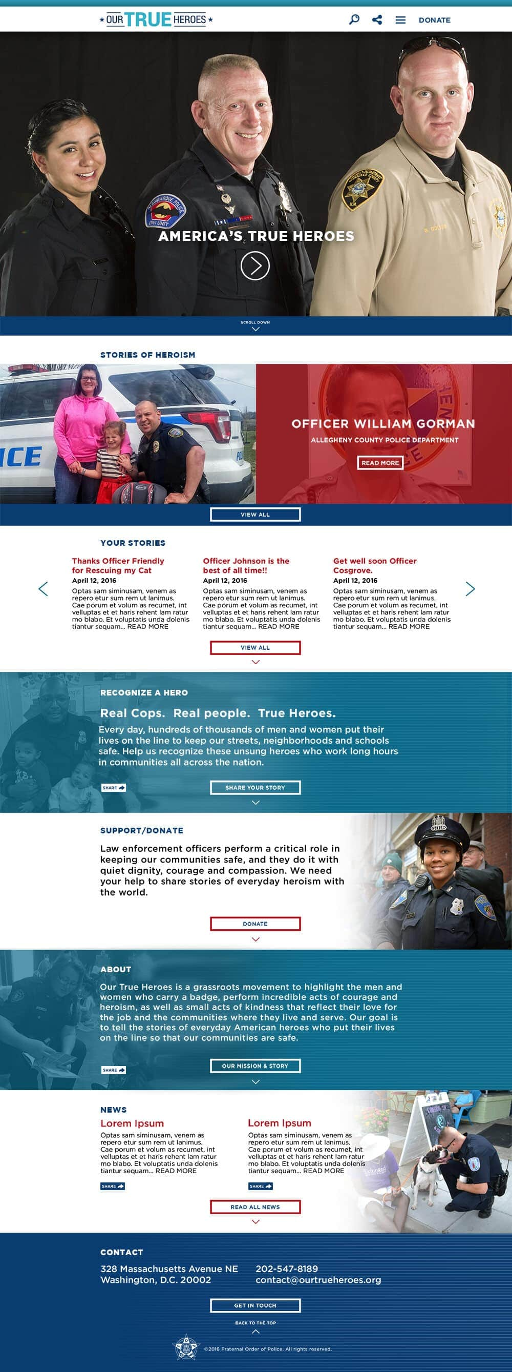Website Development: Our True Heroes Home Page