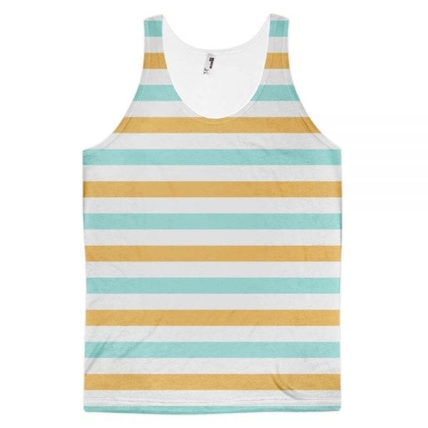 Classic Fit Tank Top - Orange Blue Gray White