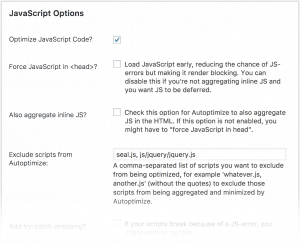 Autoptimize minification options screen to speed up your WordPress website
