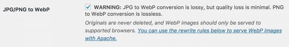 WordPress EWWW Image Optimizer WebP Settings
