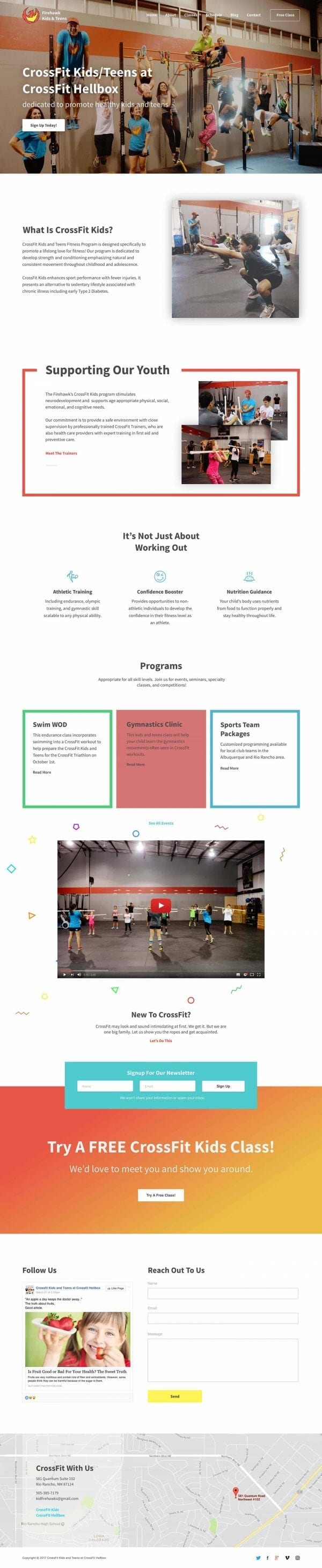 Screenshot of a custom website design and development for Firehawks Kids/Teens Crossfit