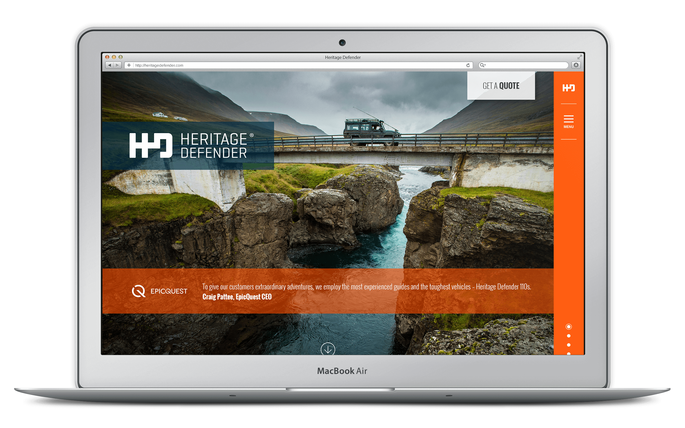 Heritage Defender: Custom website development screenshot